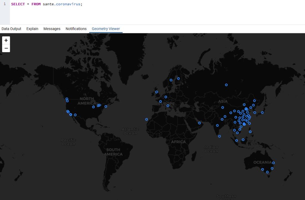 Carte du Coronavirus dans PgAdmin